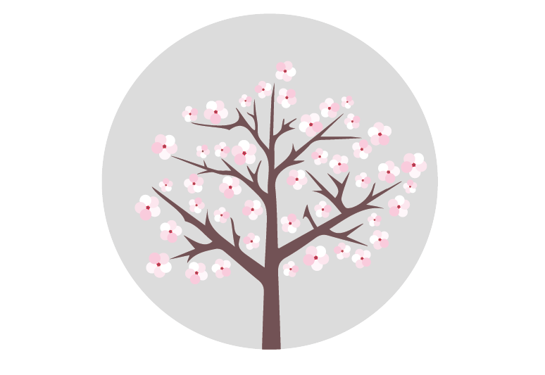 This image shows an illustrated almond tree in bloom.