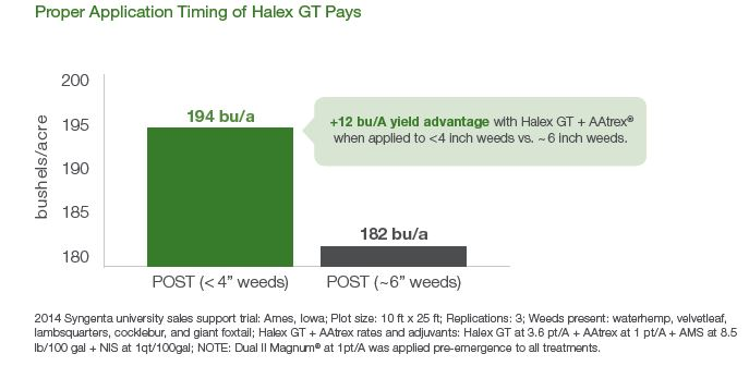 "This chart shows the 12 bushel yield difference in corn treated with Halex GT + AAtrex® 4L herbicide post-emergence when weeds were less than 4"" tall versus weeds at 6"" tall."