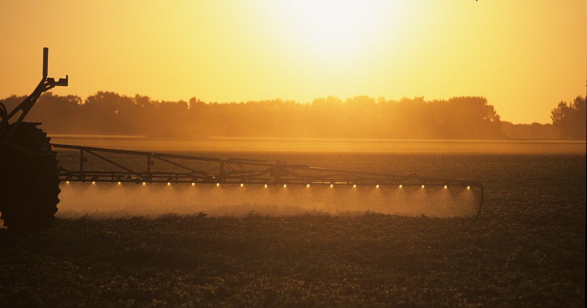 This agronomic image shows a soybean sprayer.