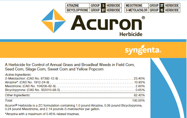 This image shows the Acuron product label