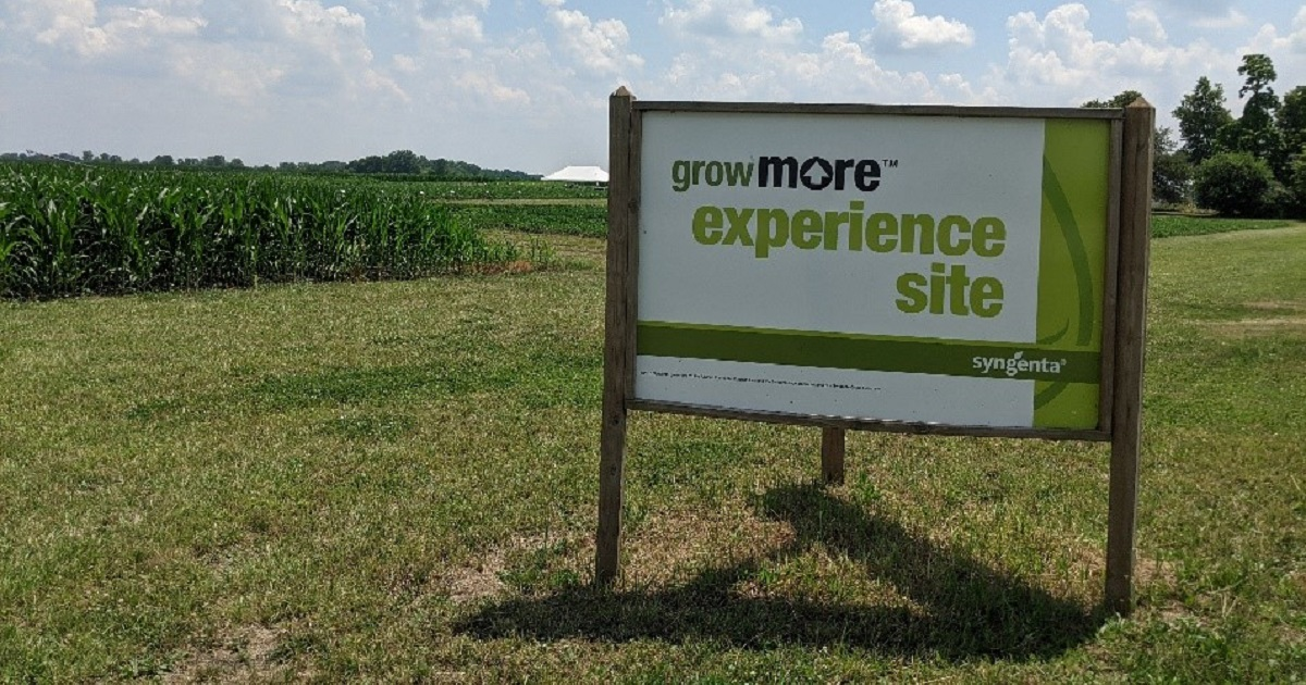 This agronomic image shows the Grow More Experience site sign for Pontiac, IL